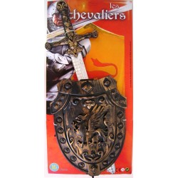 27110 Epée Moyen Age 50 Cm Bronze + Bouclier